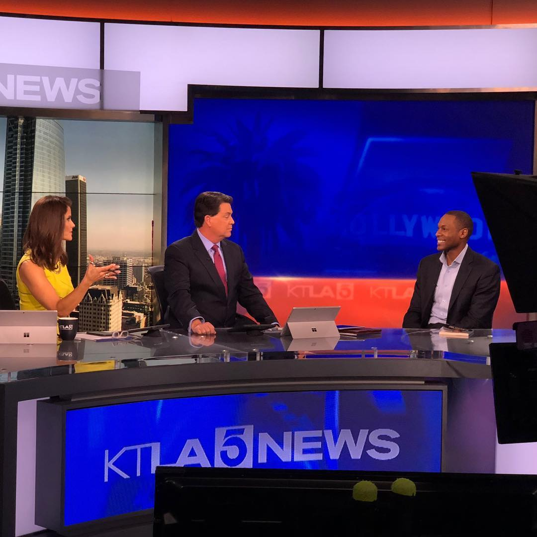 Anchors Lu Parker and Glen Walker bring Marion E. Brooks to KTLA 5